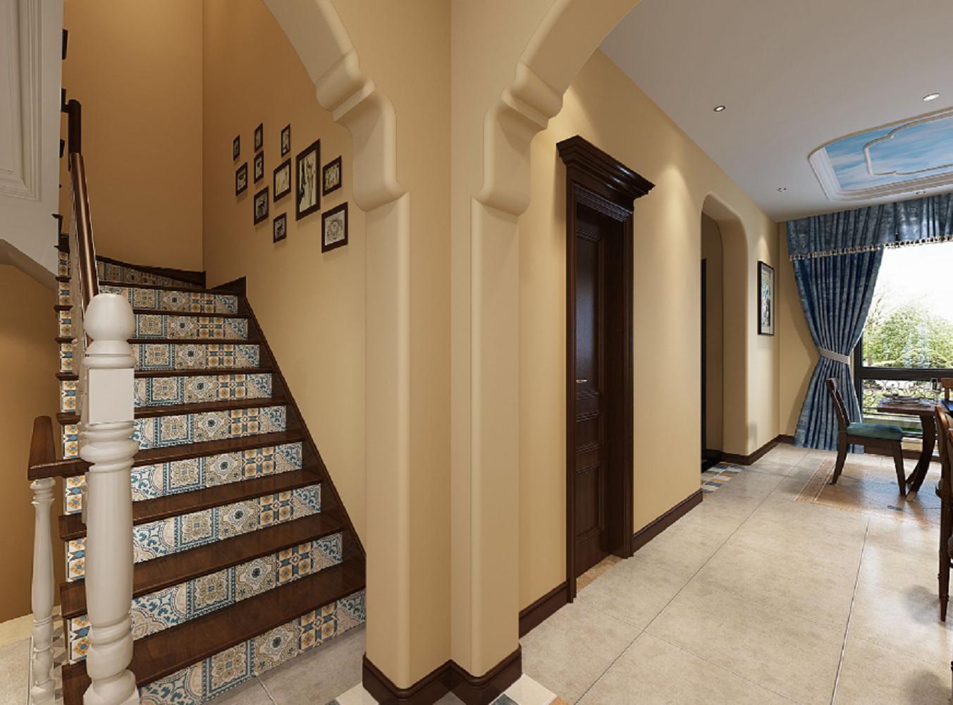 简约美式复式楼梯背景墙
