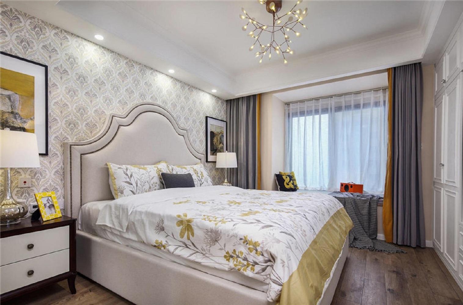 100㎡美式风格装修卧室效果图