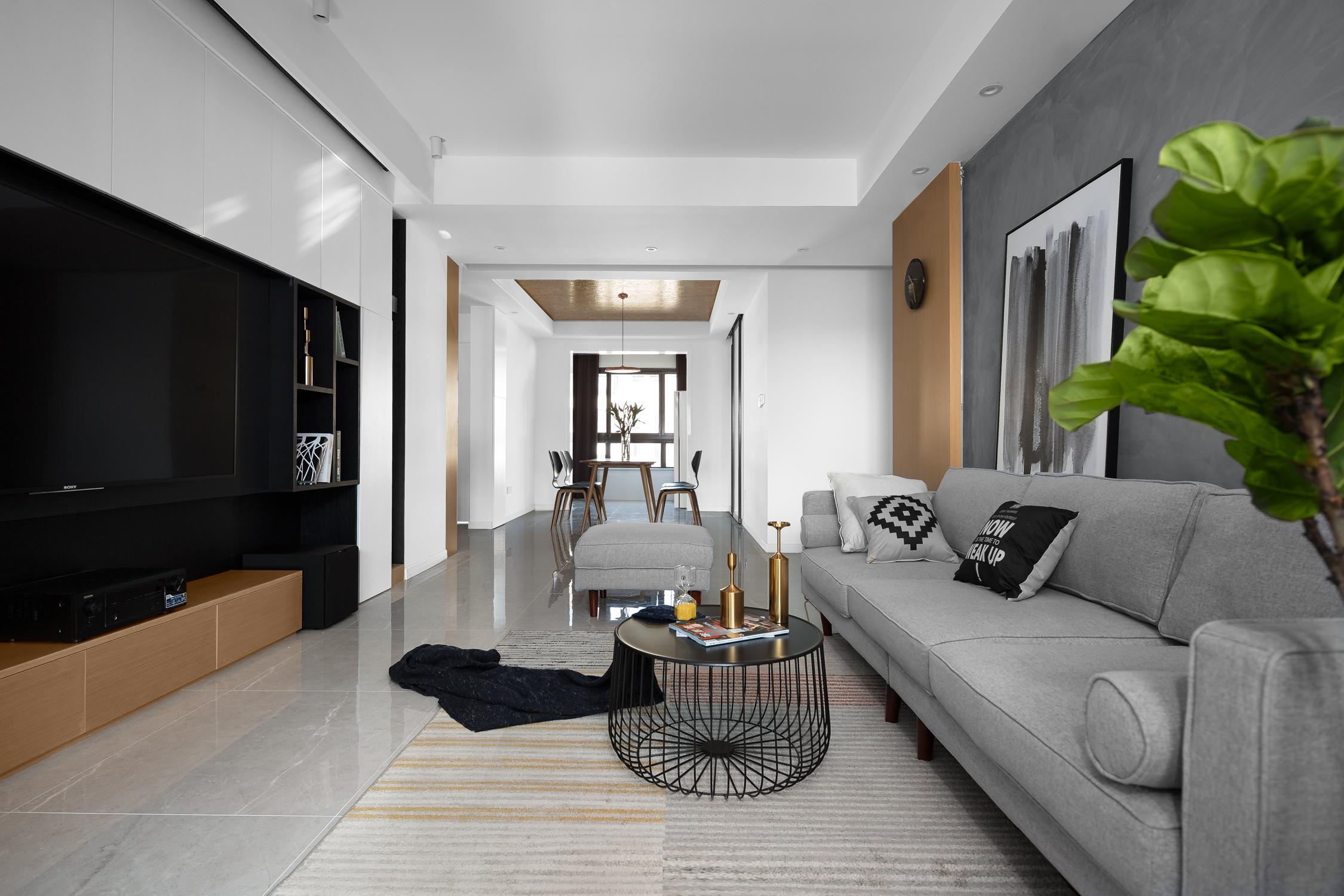 三居室现代风格空间客餐厅效果图