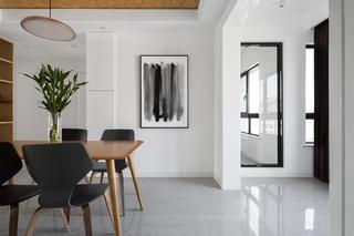 三居室现代风格空间餐厅背景墙图片