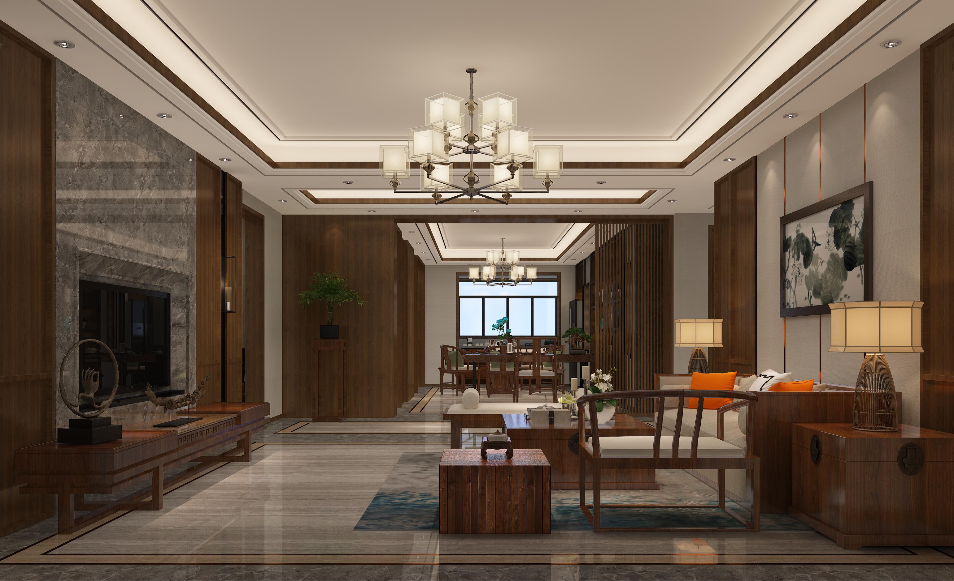 中式别墅装修客厅设计图