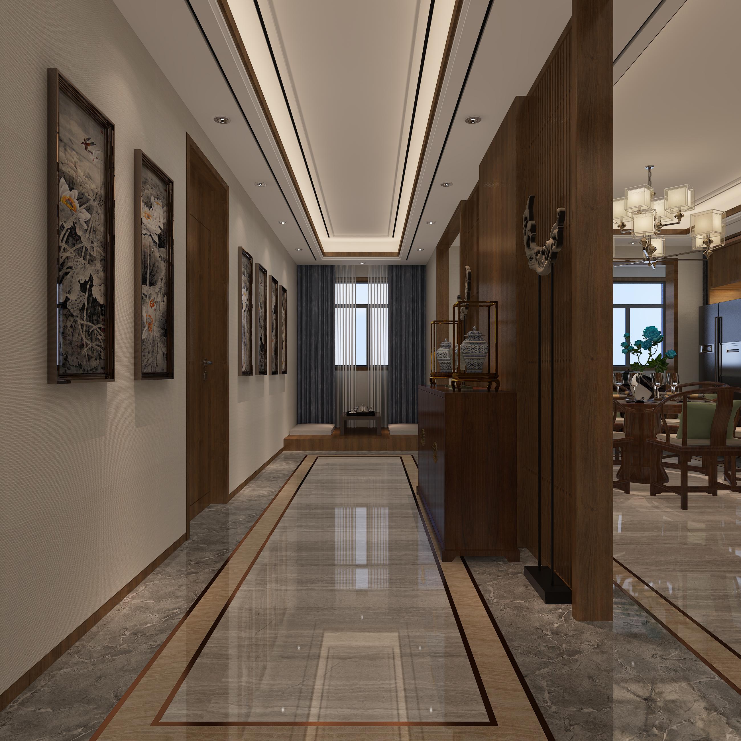 中式别墅装修门厅走廊