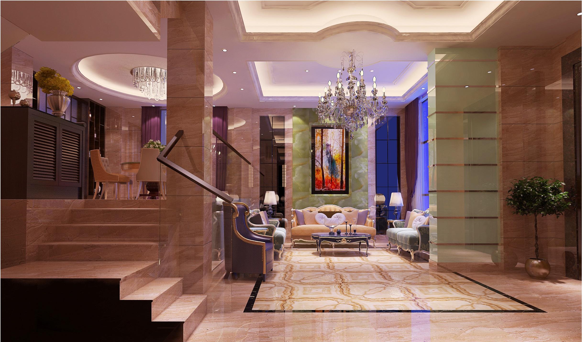 现代欧式别墅装修设计客厅效果图