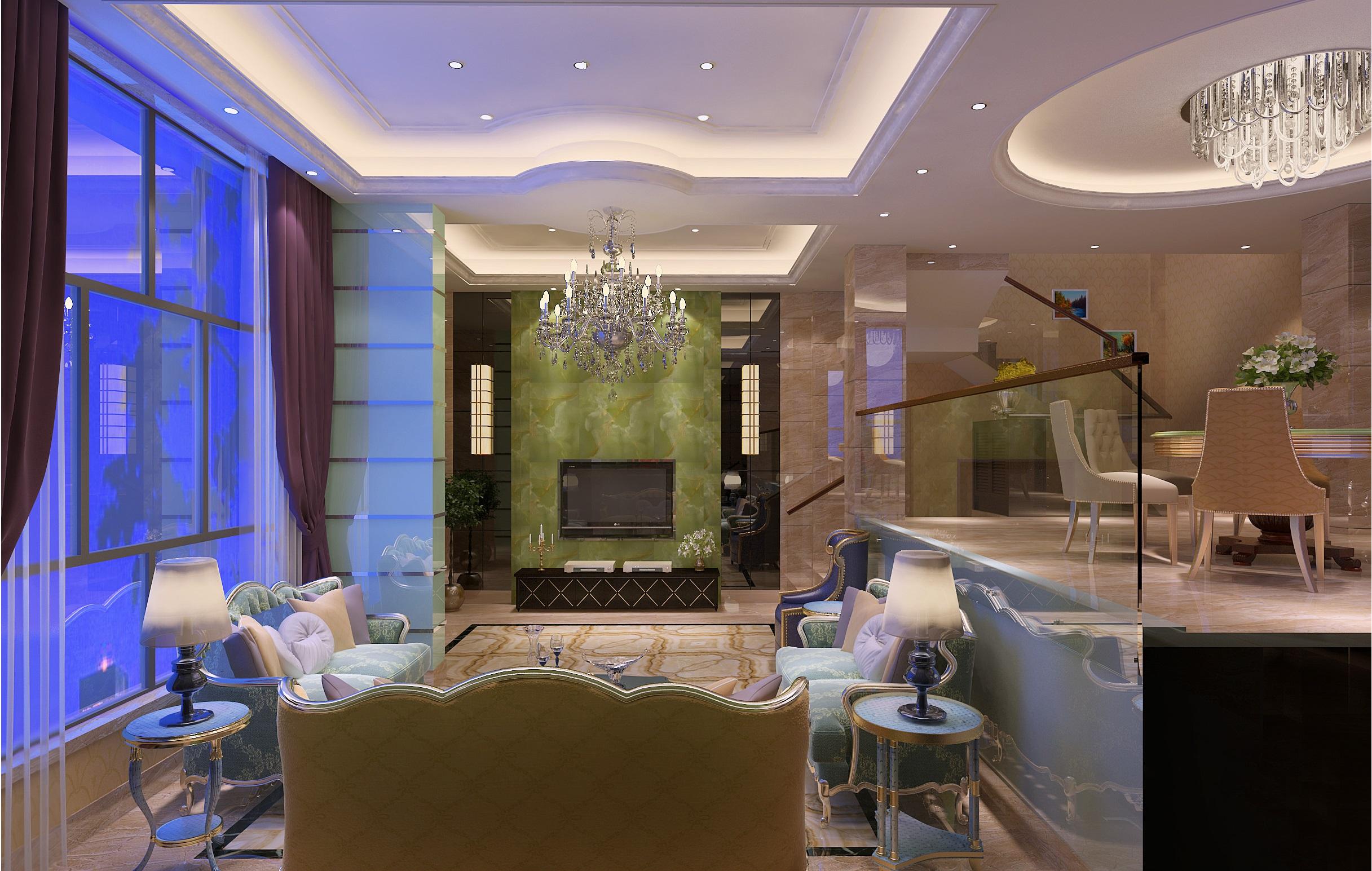现代欧式别墅装修电视背景墙设计