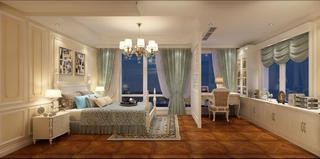 欧式风豪华型装修卧室全景图