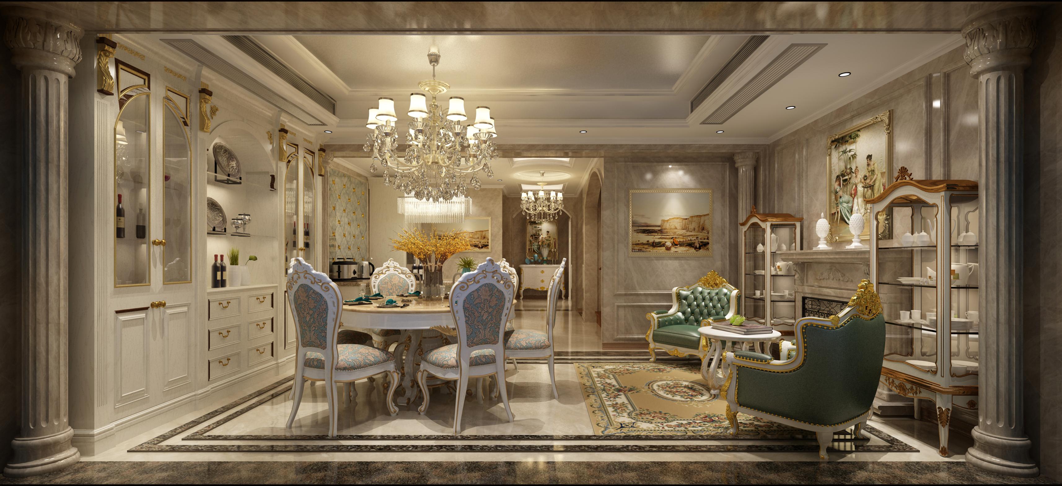 欧式风豪华型装修餐厅全景图