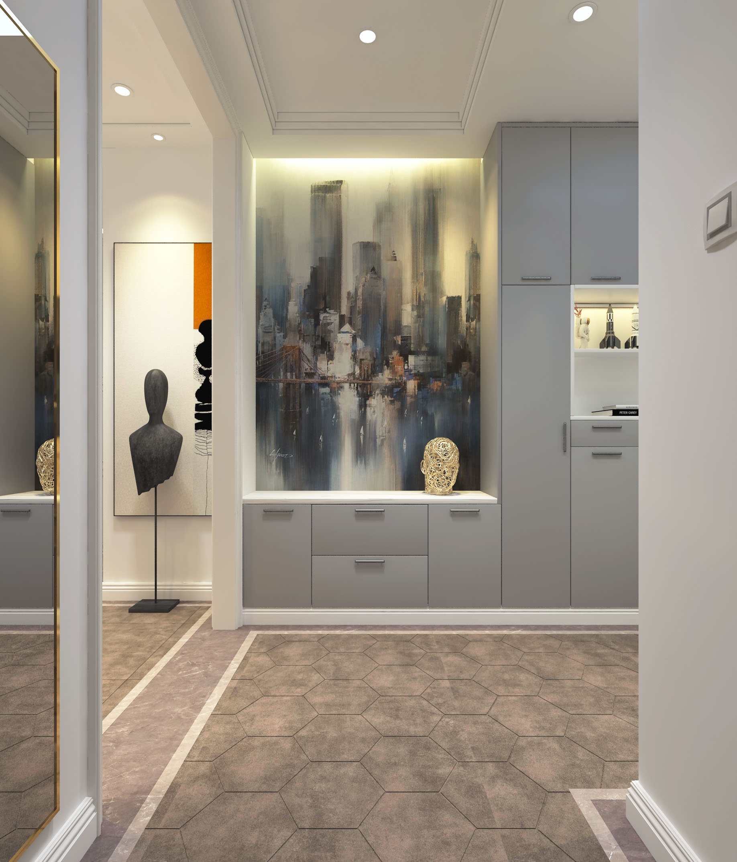 二居室现代简约家门厅壁画装饰