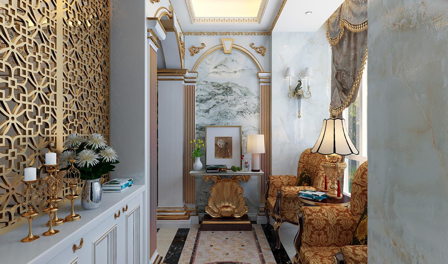 法式宫廷别墅装修玄关设计