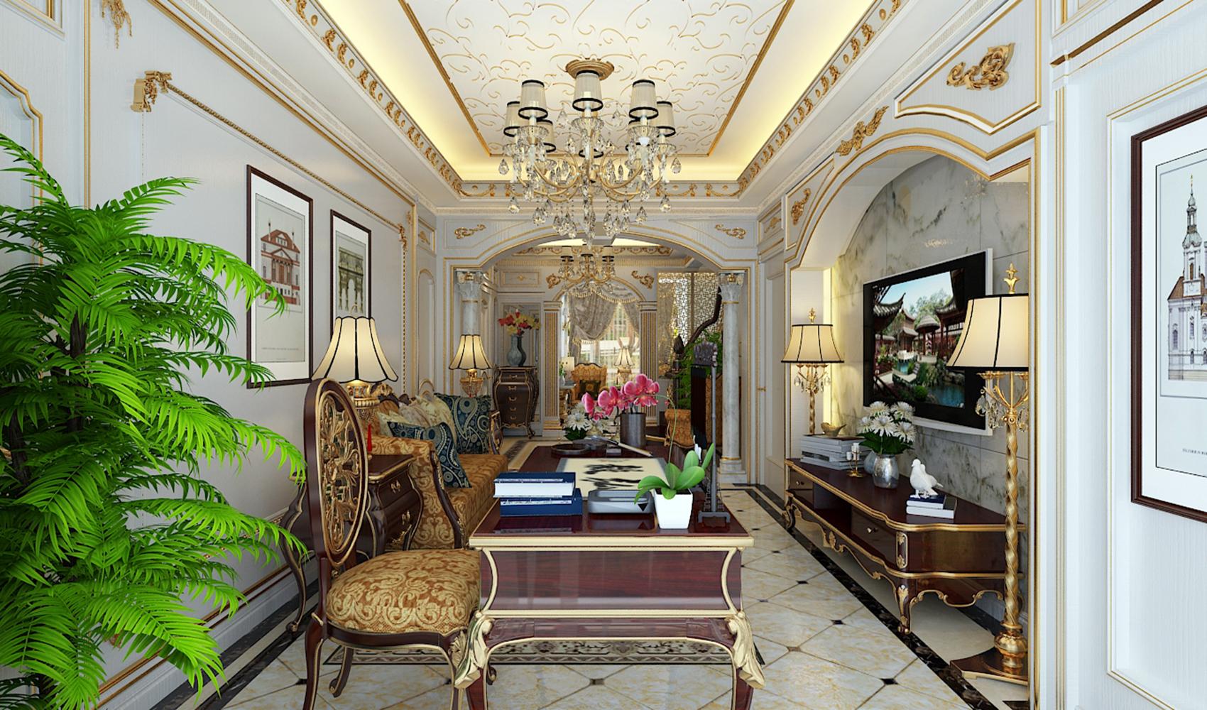 法式宫廷别墅装修客厅效果图