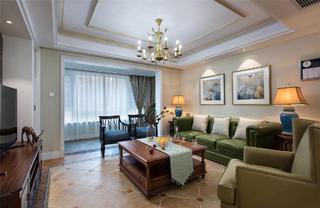 美式四居室装修客厅效果图