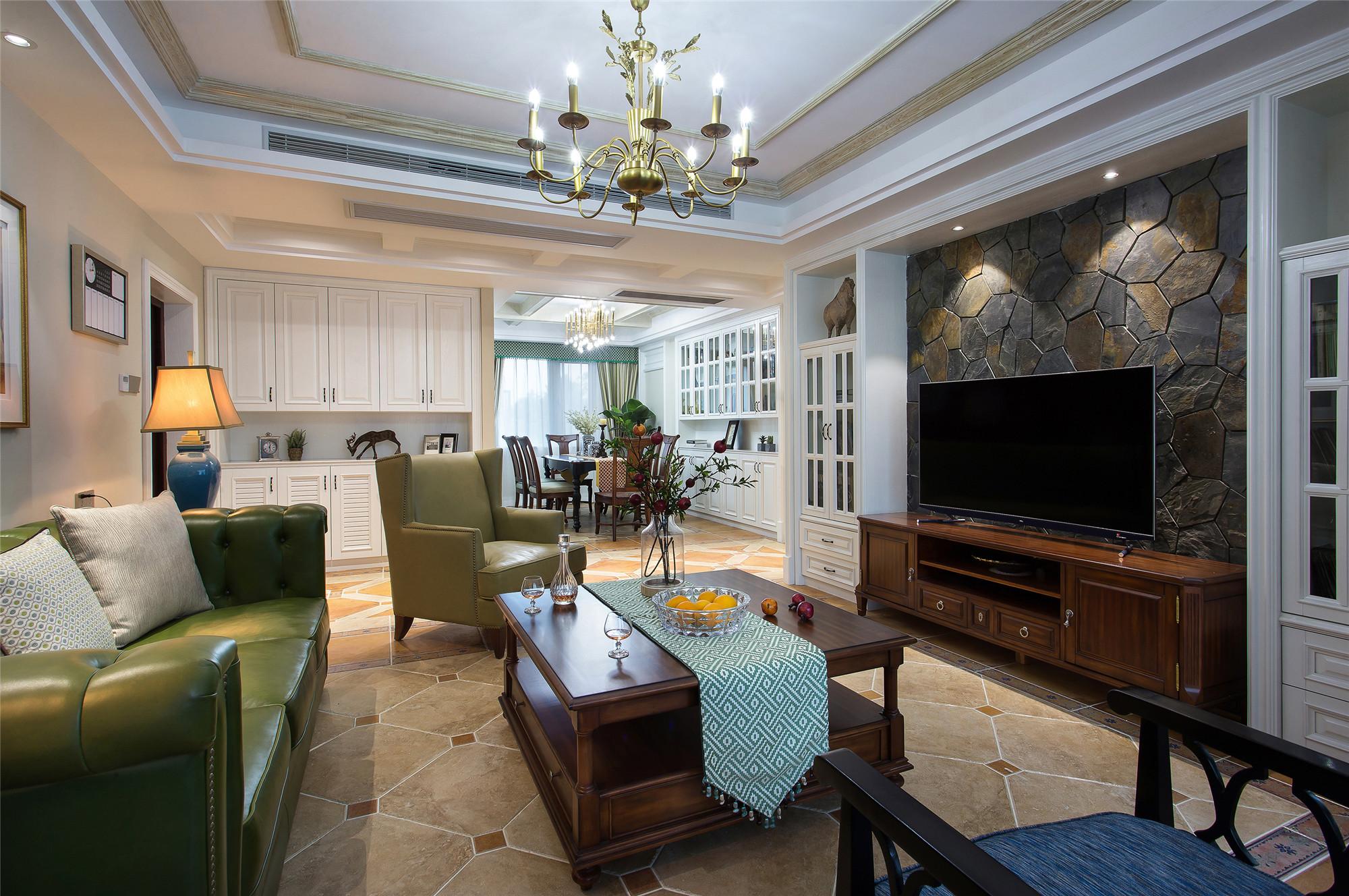 美式四居室装修电视背景墙图片
