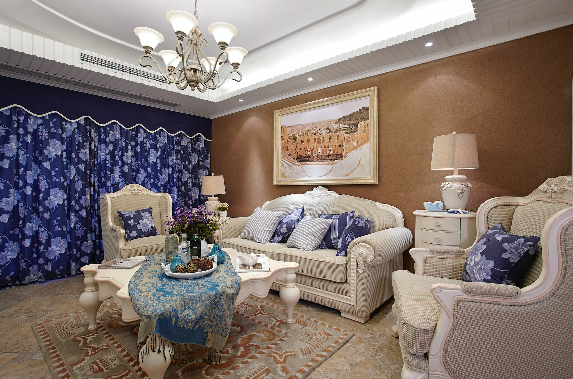 地中海三居室装修沙发背景墙图片
