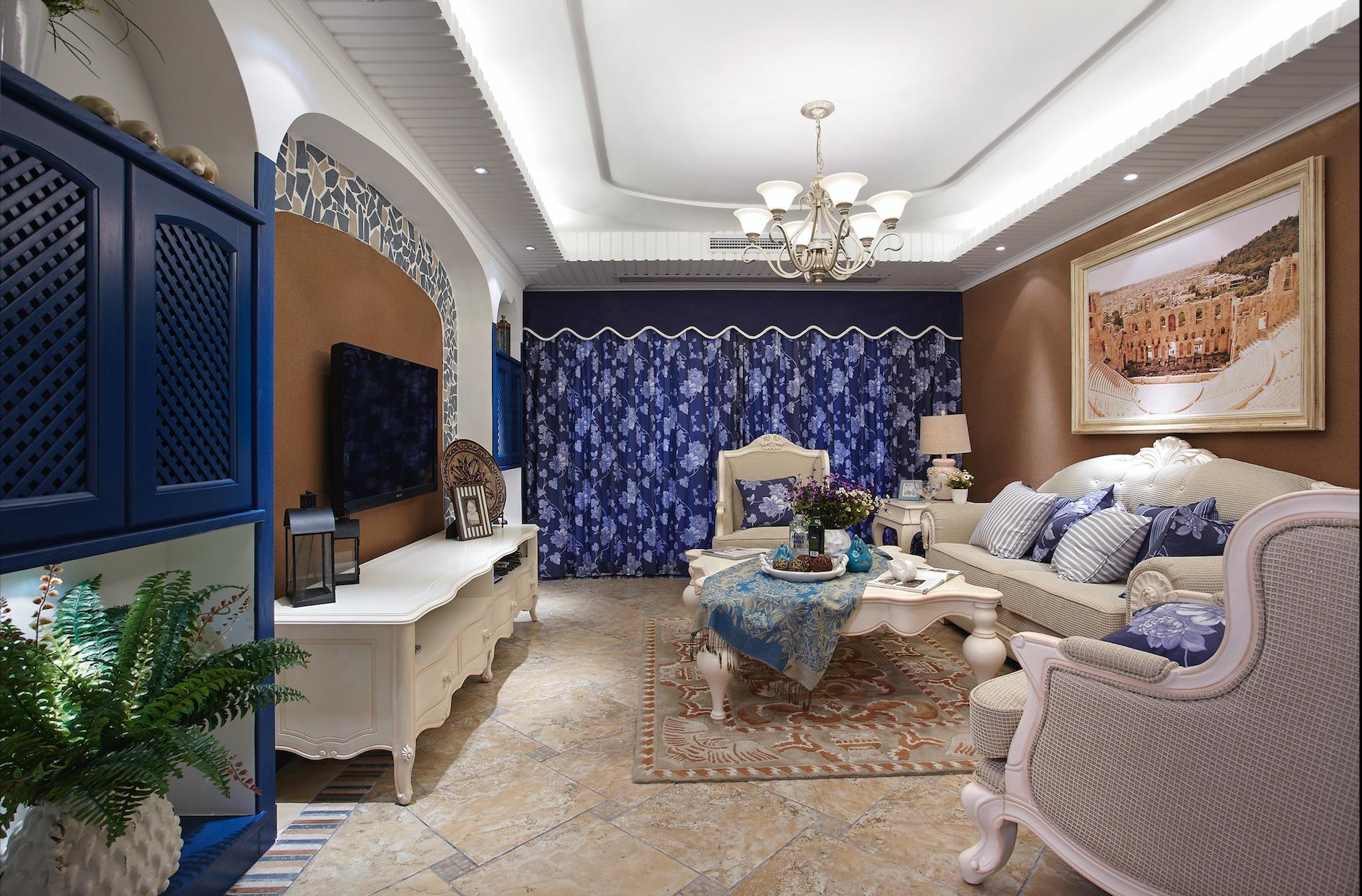 地中海三居室装修客厅设计图