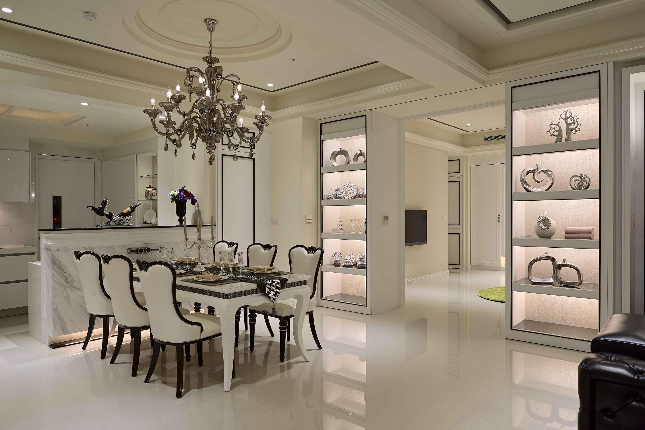 大户型黑白新古典装修餐厅设计图