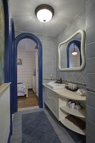 地中海三居室装修洗手台图片