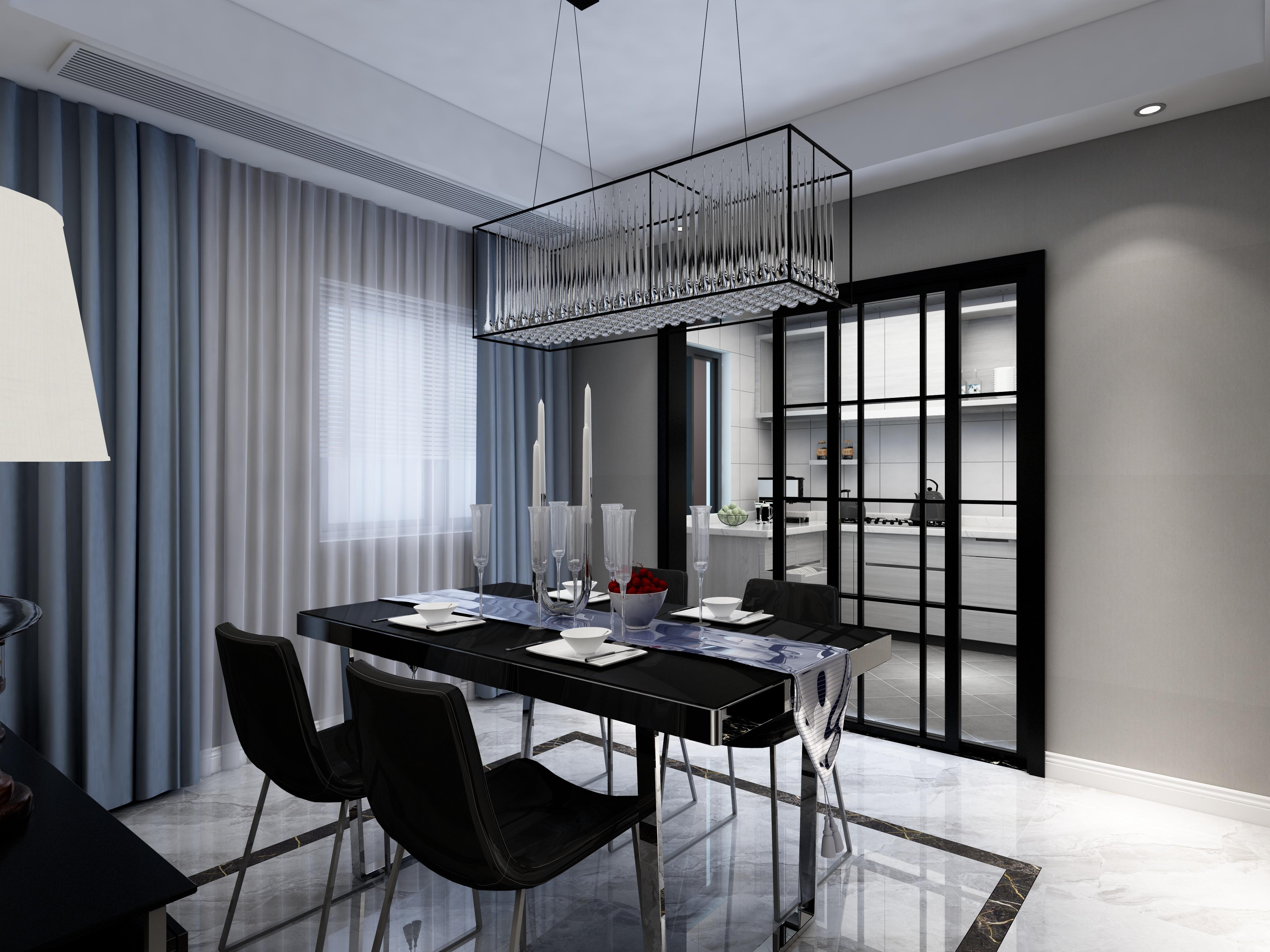 黑白灰简约空间装修餐厅效果图