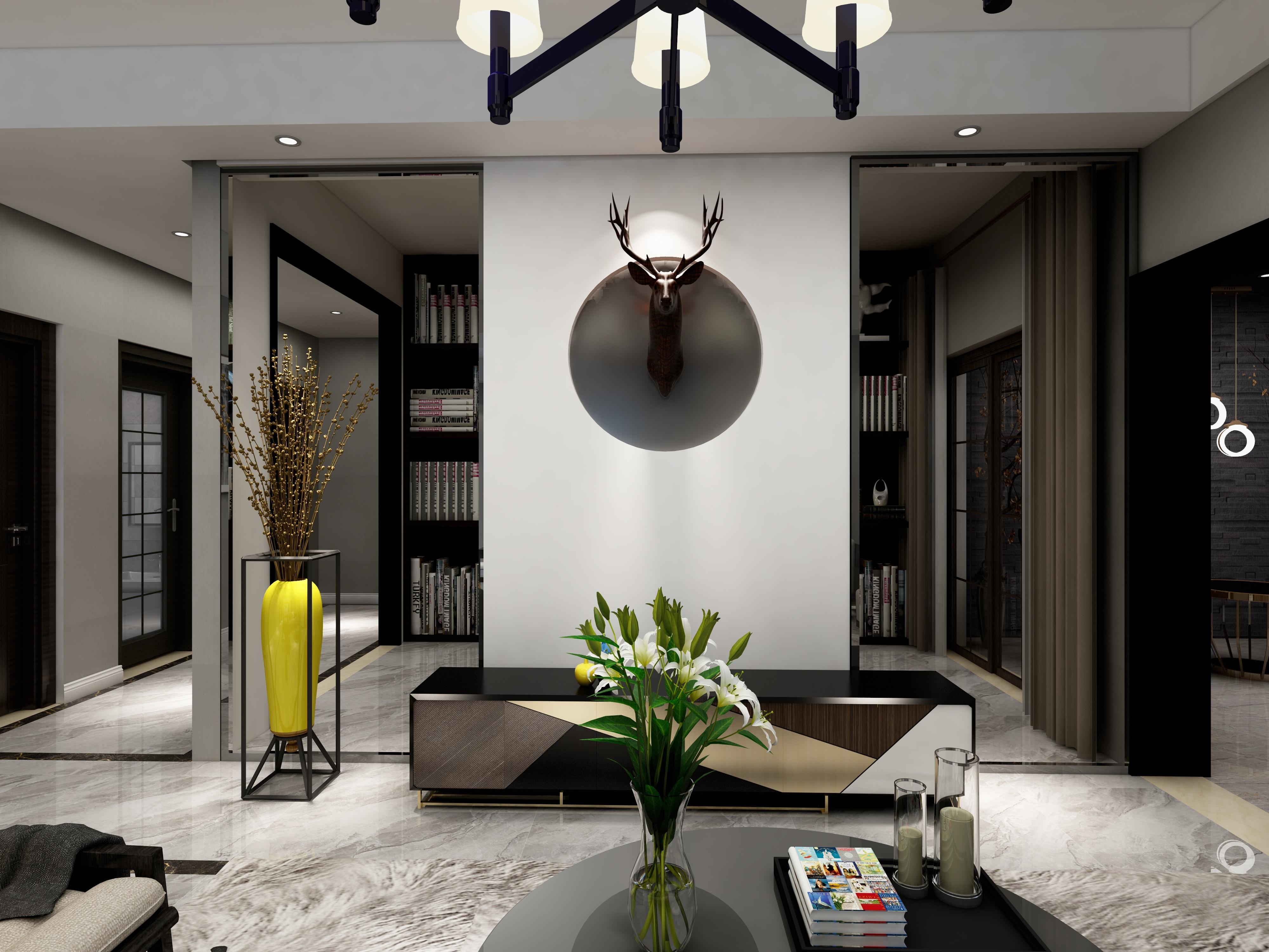 黑白灰简约空间装修电视墙设计