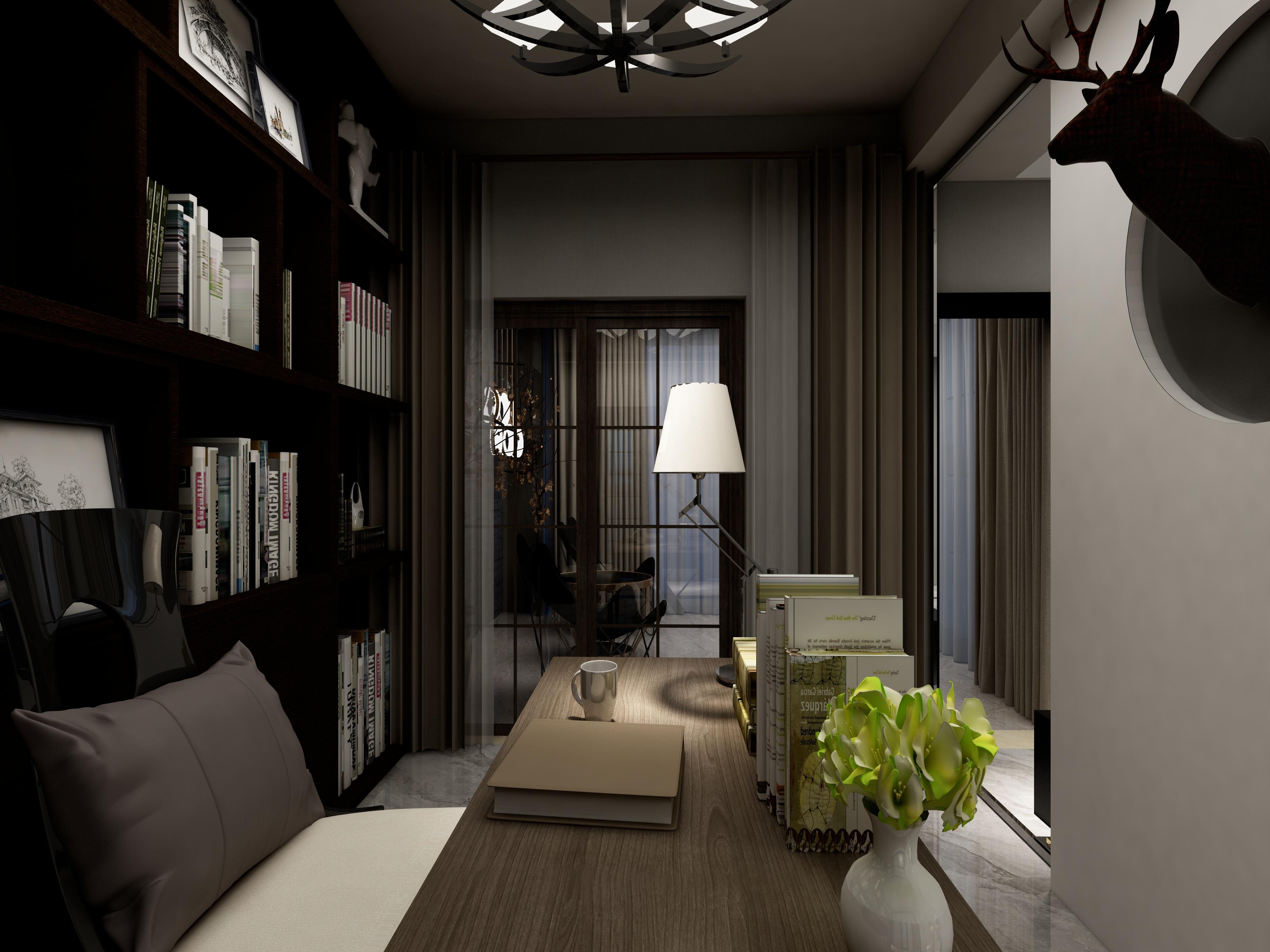 黑白灰简约空间装修书房布置图