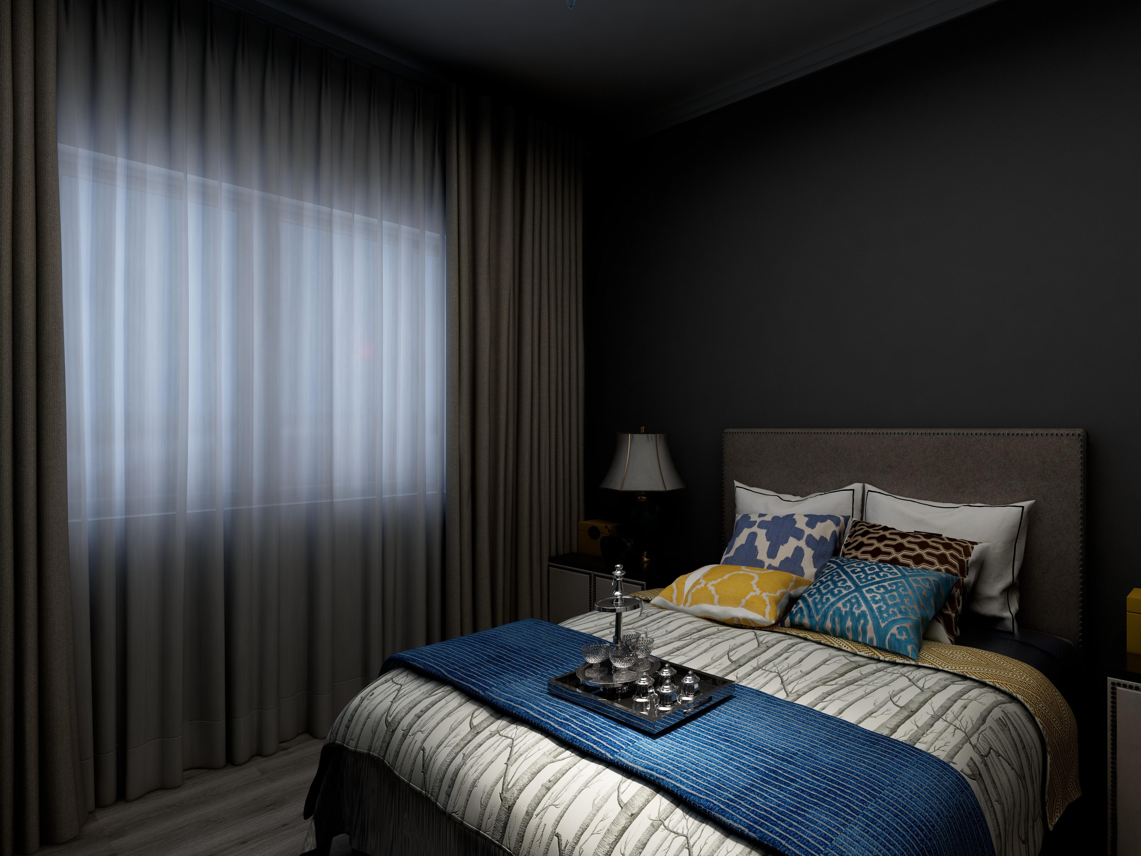 黑白灰简约空间装修次卧效果图