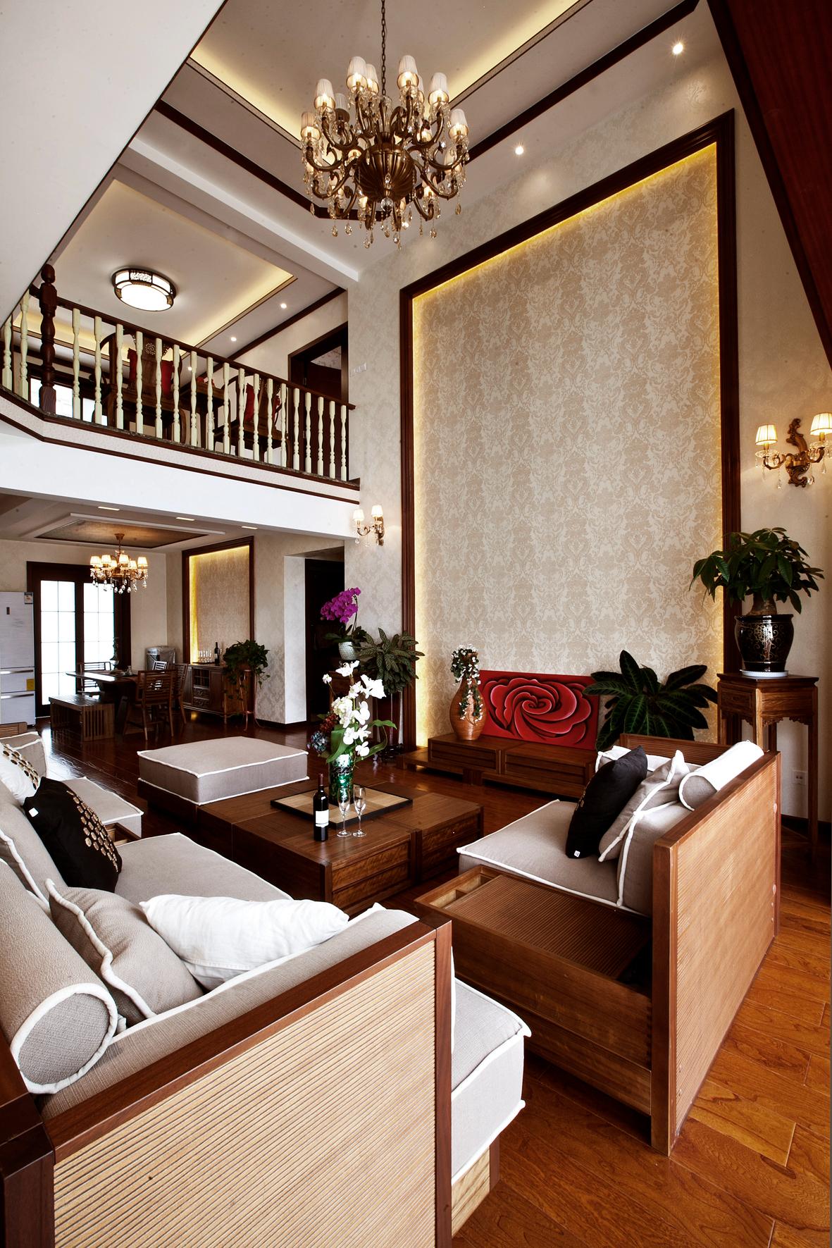 中式别墅装修客厅效果图