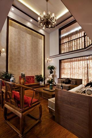 中式别墅装修背景墙图片