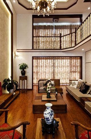 中式别墅装修窗帘图片