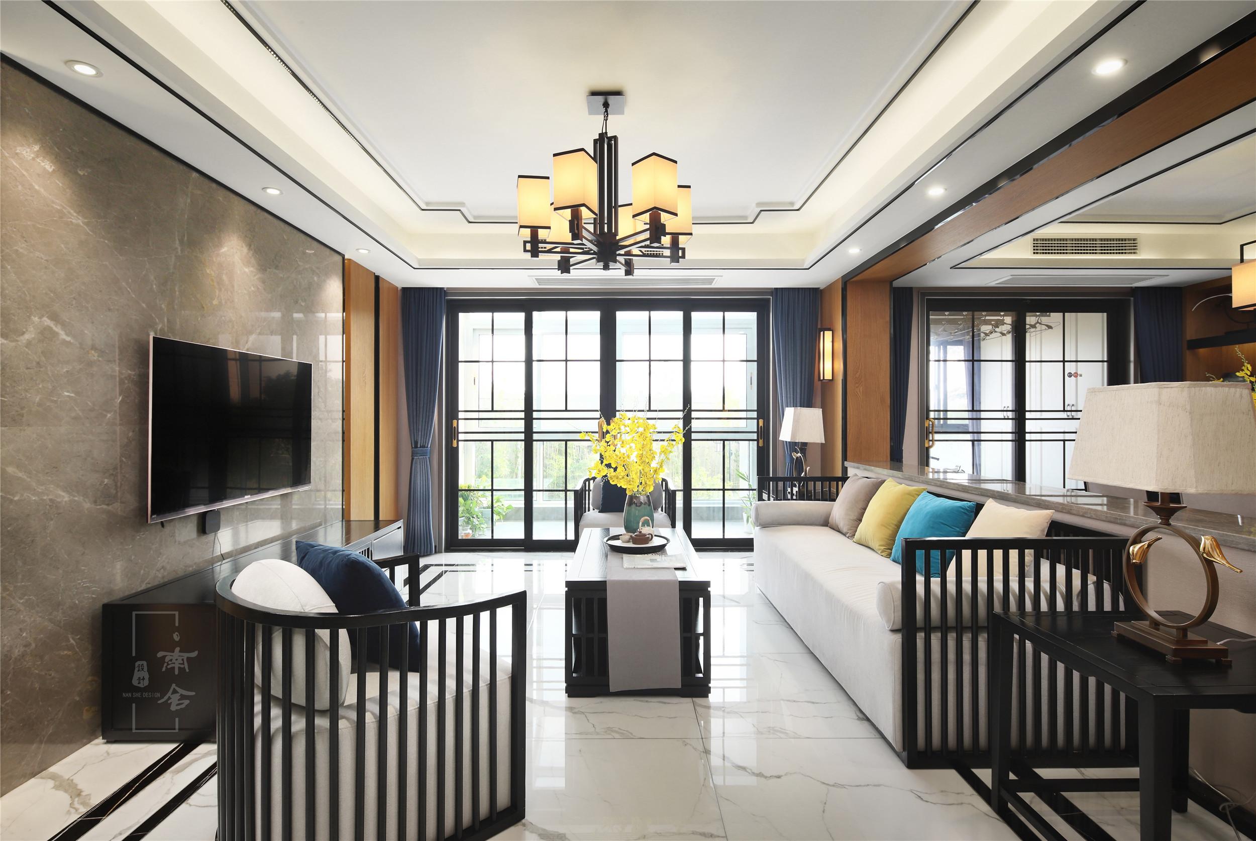 140㎡新中式装修客厅效果图