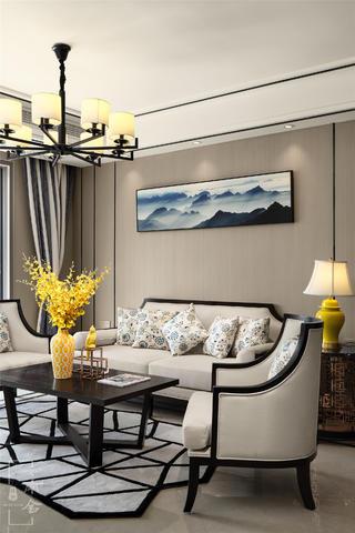 120平新中式装修沙发背景墙图片