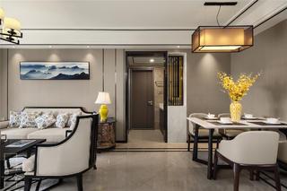 120平新中式装修客餐厅过道