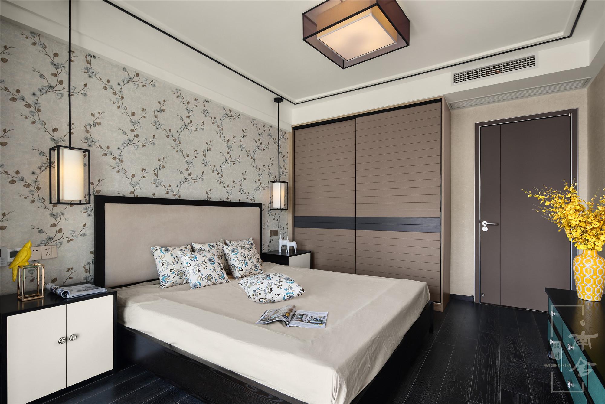 120平新中式装修卧室效果图