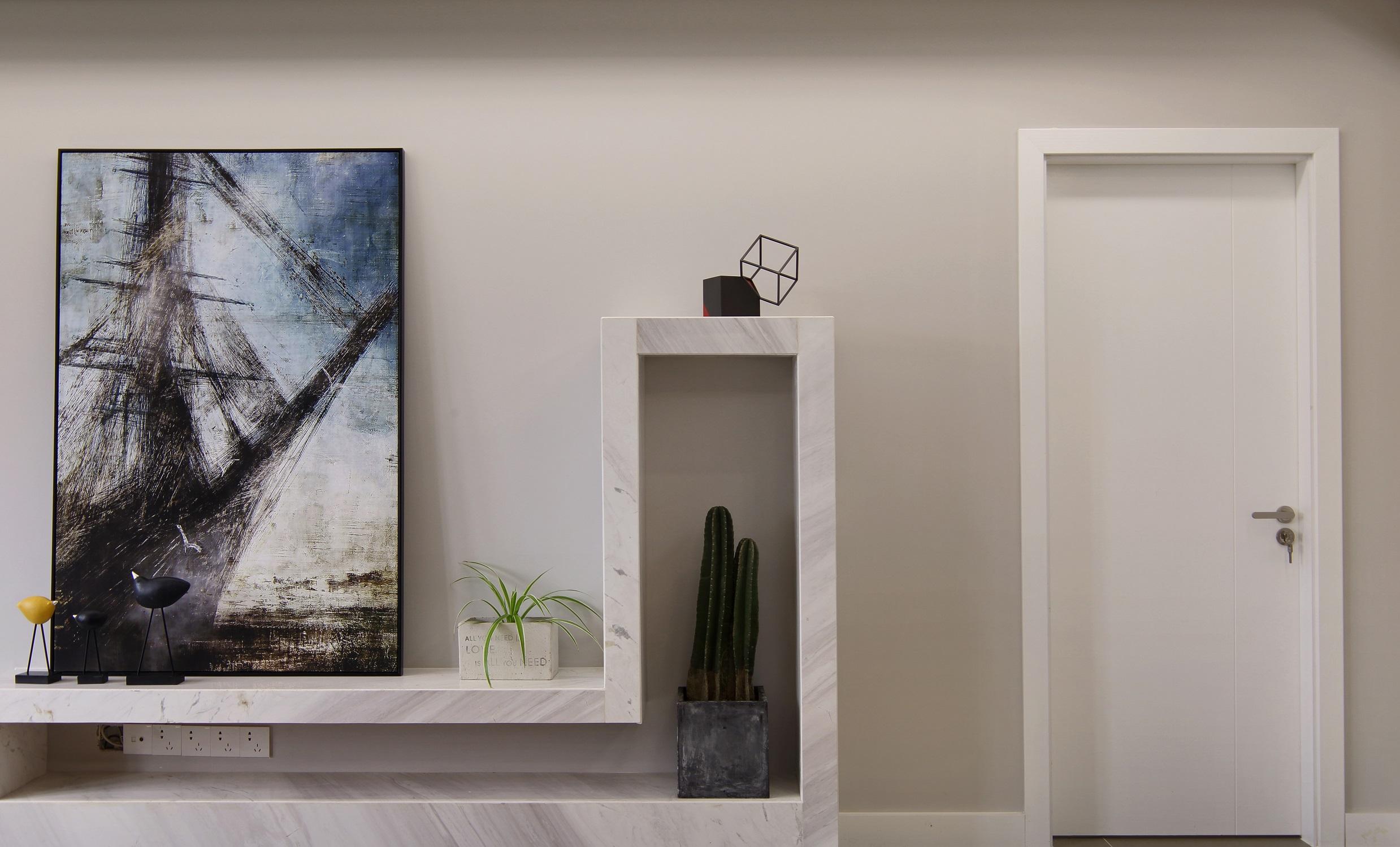 140平简约装修电视背景墙图片