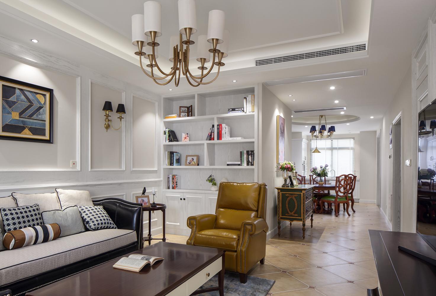 四居室现代美式空间客餐厅效果图