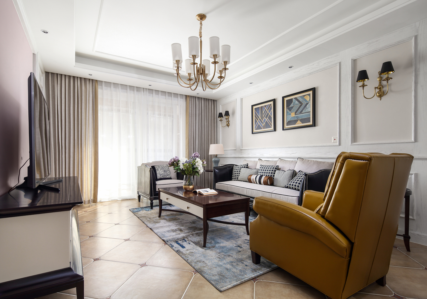 四居室现代美式空间卧室效果图