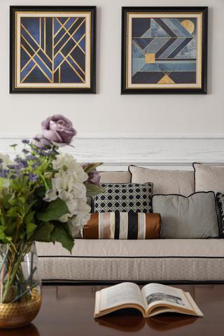四居室现代美式空间抱枕图片