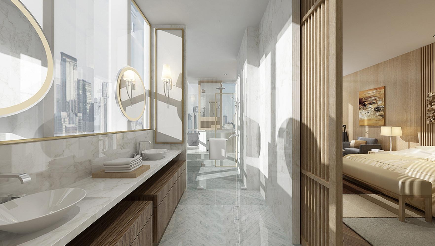 现代简约三居室装修洗手台图片