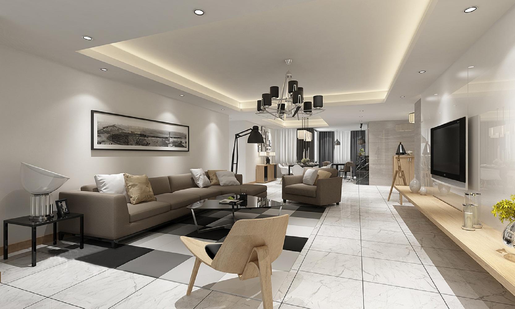 现代简约三居室装修客厅效果图
