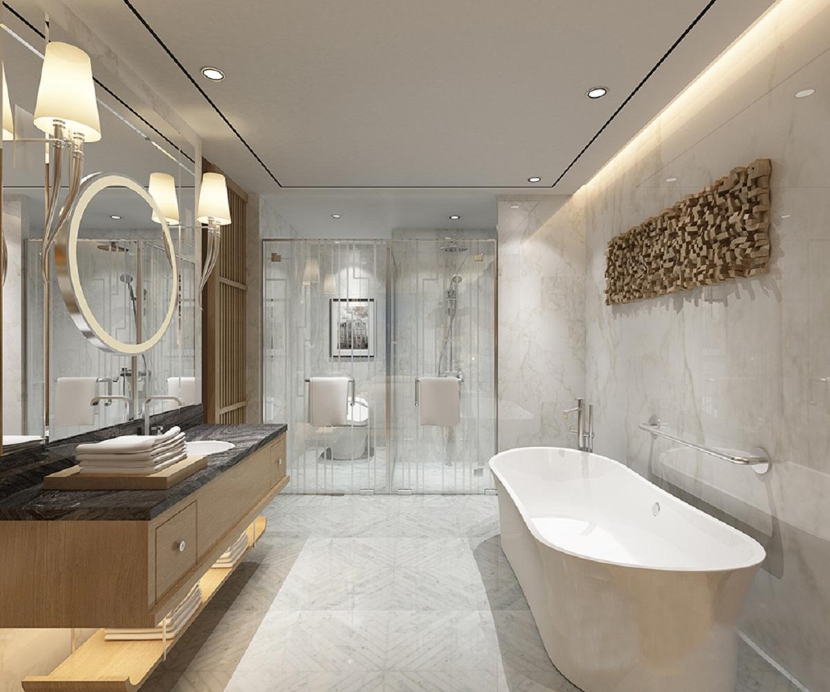 现代简约三居室装修卫生间效果图