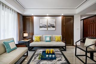 139平新中式装修沙发背景墙图片