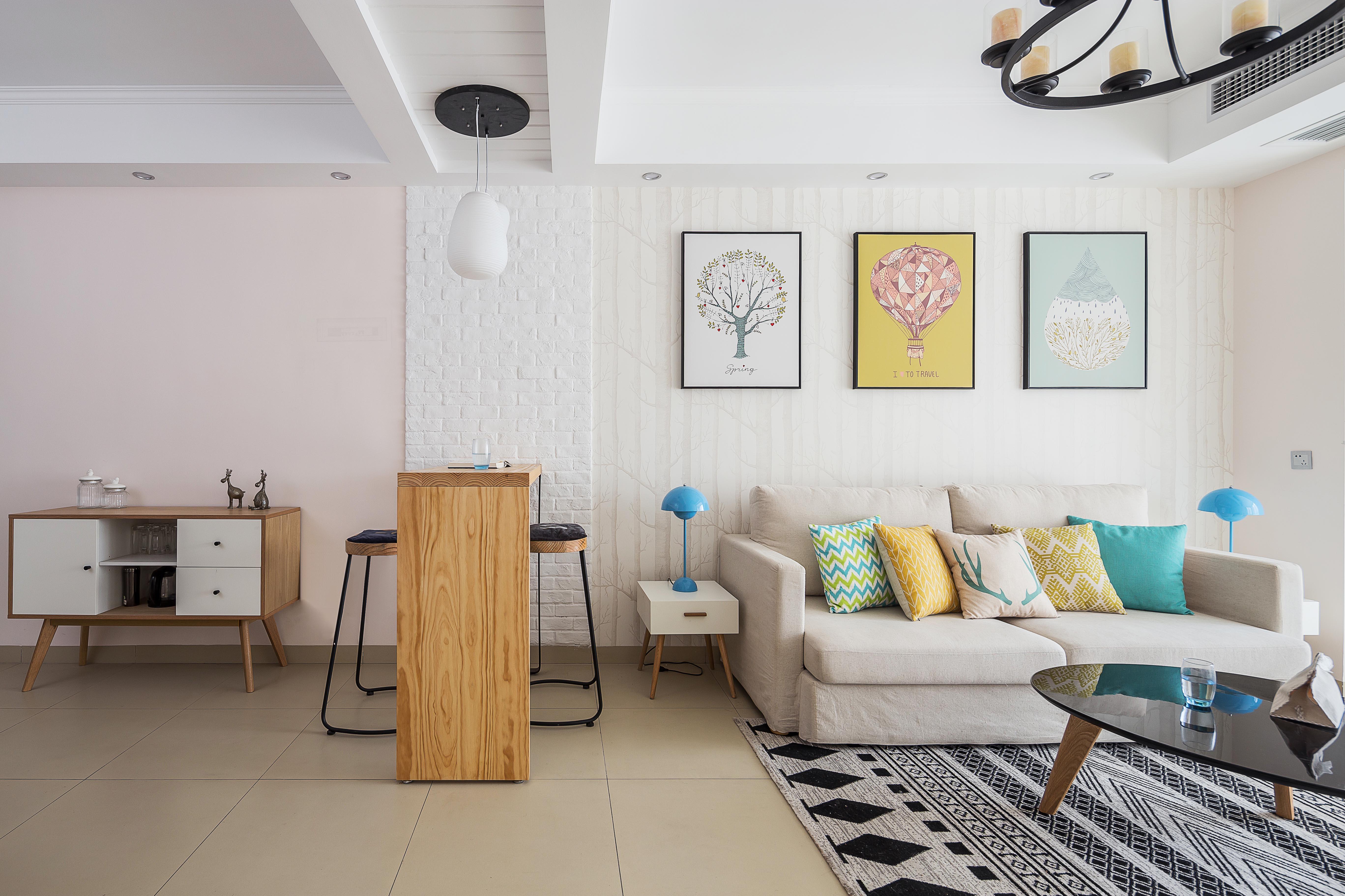 92平北欧风格家客厅隔断设计