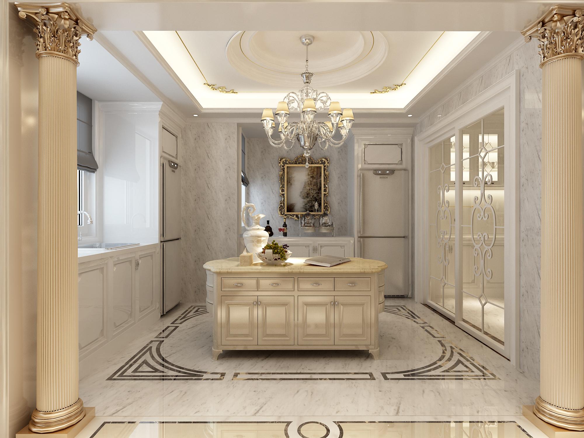 法式别墅装修厨房效果图