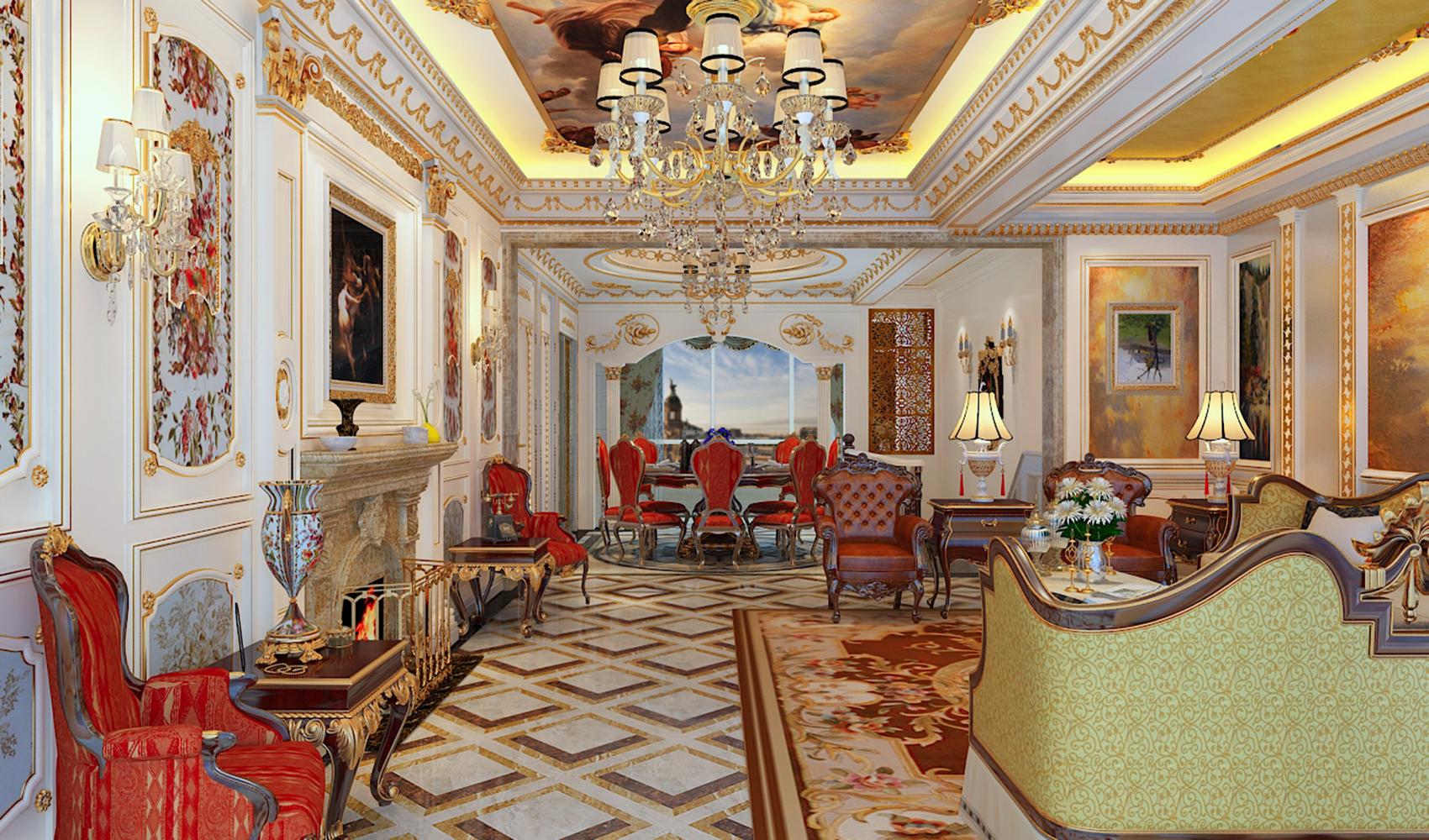 法式别墅装修客餐厅效果图