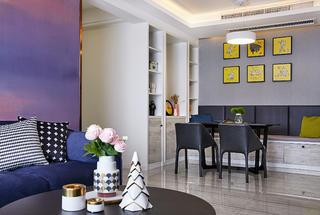 110㎡现代风格装修餐厅背景墙图片