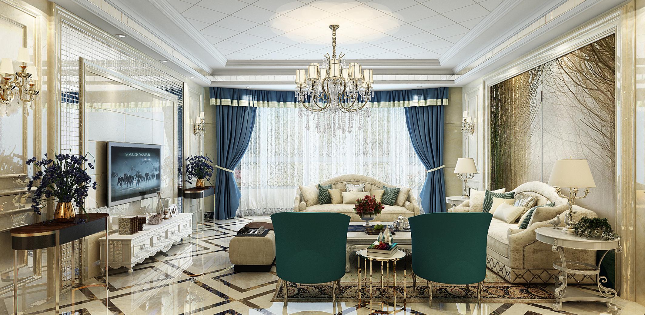 欧式豪华装修客厅效果图