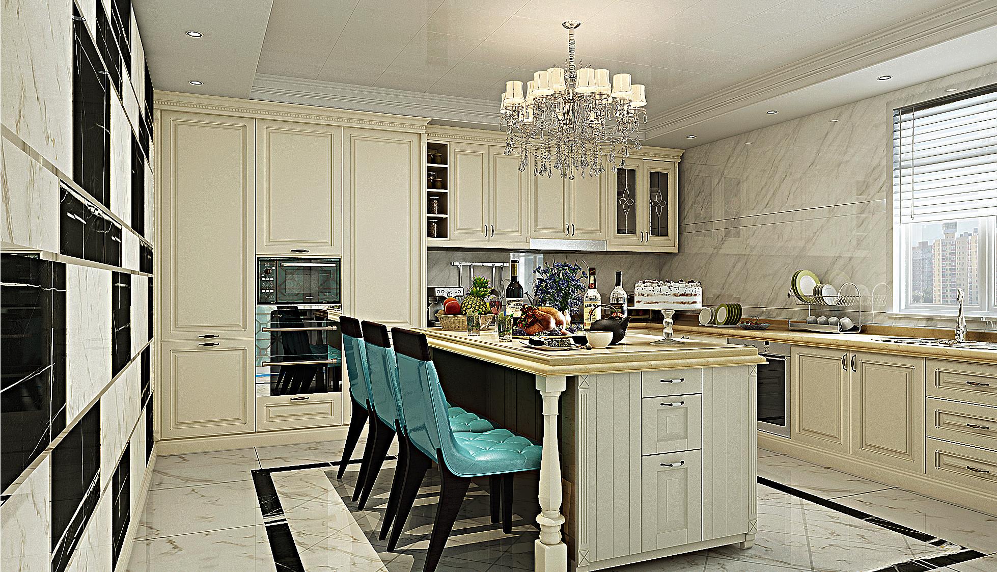 欧式豪华装修厨房效果图