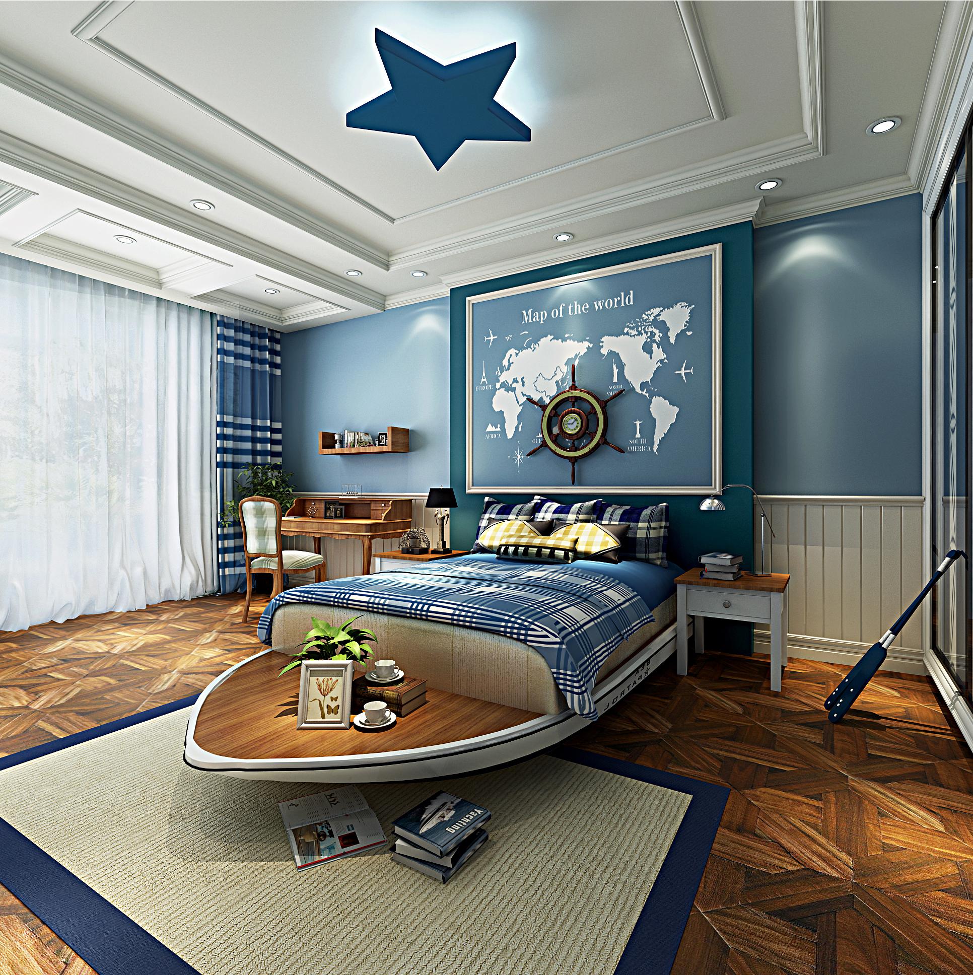 欧式豪华装修男孩房设计图
