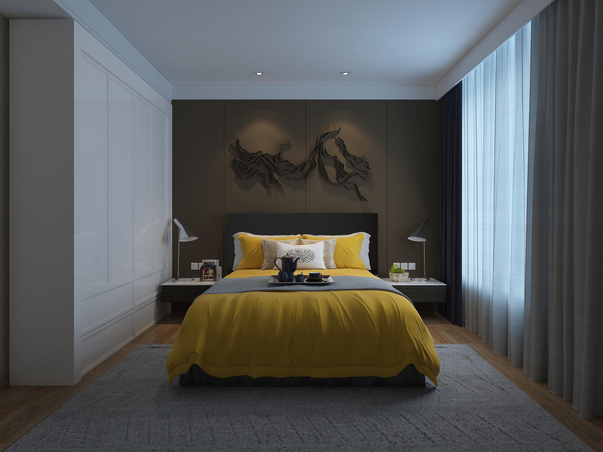 130平现代简约家卧室效果图