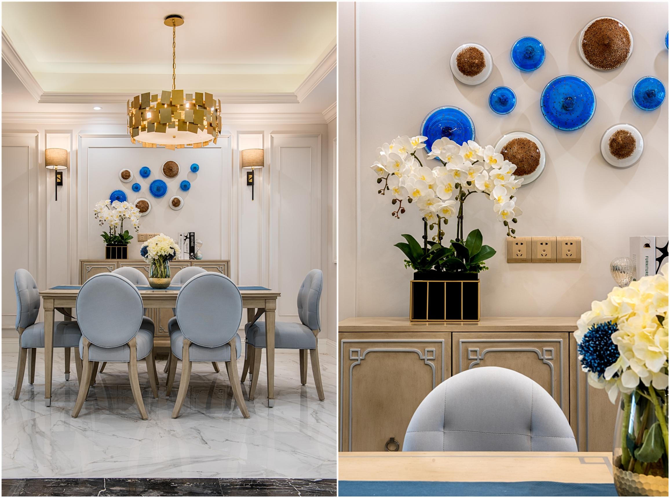 130㎡美式装修餐厅背景墙图片