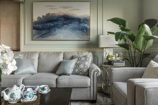 现代美式四居装修沙发背景墙图片