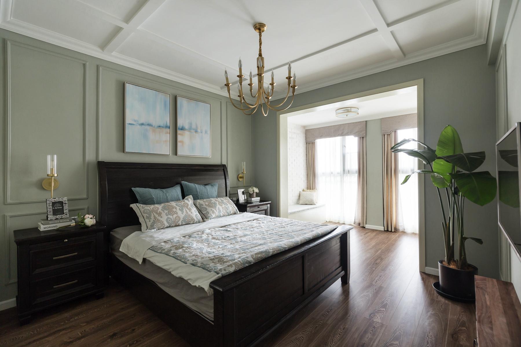 现代美式四居装修主卧效果图