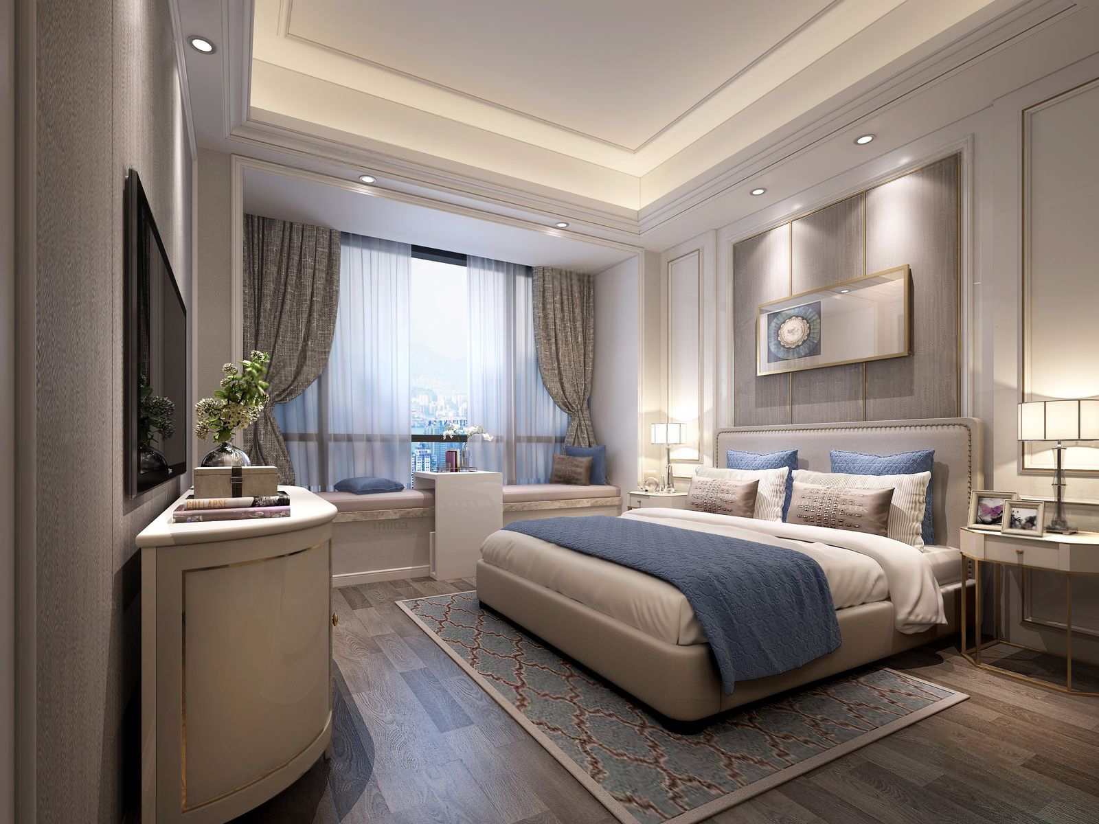 110㎡现代风格装修卧室效果图